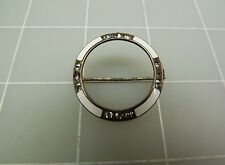 Antique Sterling Silver White Enamel CIRCLE W/ Rhinestones Brooch Pin 4.8Grams