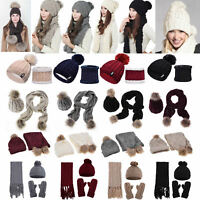 Women 2/3Pcs Hat Scarf Sets Winter Pompoms Knitted Soft Caps Scarves Warm Beanie