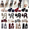 Women 2/3PCS Scarf Glove Slouchy Hat Sets Winter Pompoms Cap Knitted Ski Beanie
