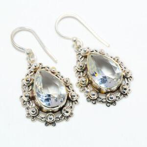 "White Topaz 925 Sterling Silver Bali Handmade Earring Jewelry 1.4"" T301"