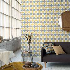 51144002 - Skandinavia Geometric Blue, Grey & Yellow Galerie Wallpaper