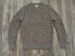 NWT J.CREW Wallace & Barnes Marled Italian Cotton Crewneck Sweater - XS, Brown