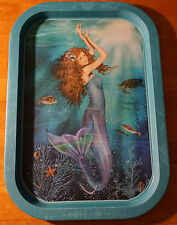 Mermaid Swimming Sea Turtle Turquoise Blue Serving Tray Beach Home Decor NEW