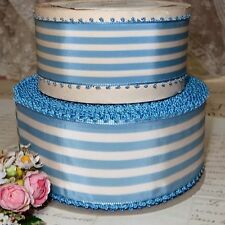"Vtg 2 1/4"" Blue White Candy Stripe Picot Ribbon French Lady Hat Vtg Antique"