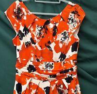 LAURA ASHLEY Occasion Dress Orange/Black Pure Silk Polyester Sleeveless UK12