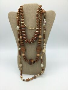 Geometric Wood Bead Necklaces Lot of 3