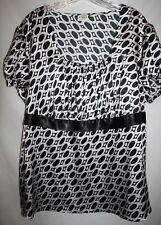 Cato WOMAN PLUS 3X Black White Circle Shirt Top Tunic Empire Waist Square Neck