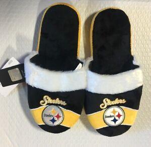 Pittsburgh Steelers Women's Stripe Logo SLIDE SLIPPERS New FREE U.S.A. SHIPPING