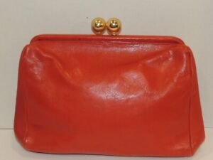 Vintage Furla Red Leather Clutch  Purse - Italy