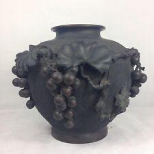 Large Antique Japanese Bronze Vase With Grape Vine Decoration Mark To Base