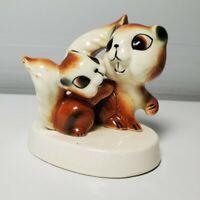 Vintage Kitsch Floral Squirrel Figurine Japan Ceramic Baby Momma Sweet crazing