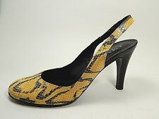 fcfde419a Amalfi Rangoni Yellow Slingback Snakeskin Leather HEELS 8.5 N Narrow Tessuto
