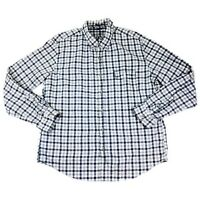 J. Crew Slim Fit Brushed Twill Men's XL Navy Blue Plaid Button Down L/S Shirt