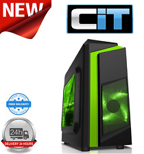 CiT F3 Black Micro-ATX Case With 12cm Green LED Fan & Green Stripe With Window