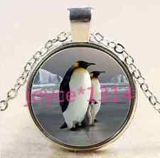 Vintage Penguin Cabochon Tibetan silver Glass Chain Pendant Necklace #2601