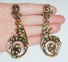 VTG Oscar de la Renta HAUTE COUTURE RUNWAY Gold Huge Chandelier Floral Earrings