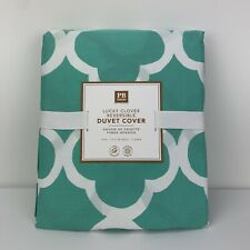 Pottery Barn Teen Lucky Clover Reversible Duvet Cover Twin 100% Cotton Teal