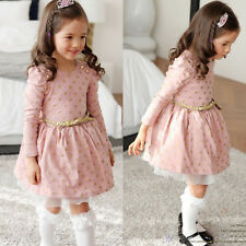 Toddler Kids Girls School Long Sleeve Tutu Skirt Party Princess Dress Clothes