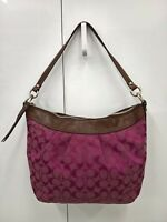 *Coach Purple & Brown Jacquard Signature Leather Trim Shoulder Bag Satchel Purse