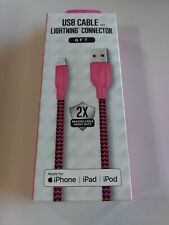USB Cable Lightning Connector Braided Pink Black Nylon 6ft iPhone iPad M23B