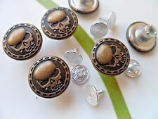 20pcs Button Metal Skull Head NO-SEW Tack Antiqued Brass Tone 15mm For Jean Hat