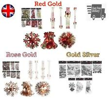 Foil Decoration Christmas Hanging Ceiling Wall Garland Bell Ball SnowFlake Gold