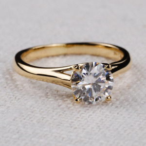 2.00 Ct Round Cut DVVS1 Moissanite Engagement Ring In 14k Yellow Gold Plated