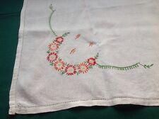 """Vtg Ivory Linen Tablecloth/Bridge Cloth 34"""" X 33"""" W/ Daisies Embroidery Hem- #4"""