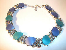 """VINTAGE BLUE THERMOSET CHOKER/COLLAR NECKLACE- 11"""" TO 13""""-JAPAN"""