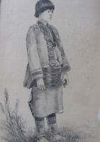 "c1898 PUEBLO INDIAN WOMAN Ink Drawing w Frame 5x8"" 'PALETTE SHOP' ANTIQUE"