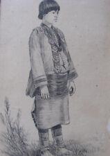 """c1898 PUEBLO INDIAN WOMAN Ink Drawing w Frame 5x8"""" 'PALETTE SHOP' ANTIQUE"""