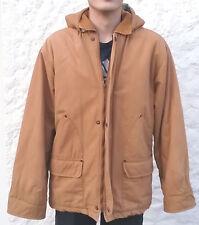 Blouson veste anorak doublé brun clair taille 174, capuche amovible, 100 % coton