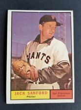 ORIGINAL1961 TOPPS SAN FRANCISCO GIANTS BASEBALL CARD #258 JACK SANFORD EX.MT.