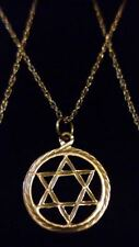 """UNISEX Vintage 9ct 375 Solid Yellow Gold STAR of DAVID Pendant on 18"""" Chain*****"""