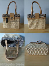 XOXO Straw Leopard Print Handbag Purse NEW with Tags