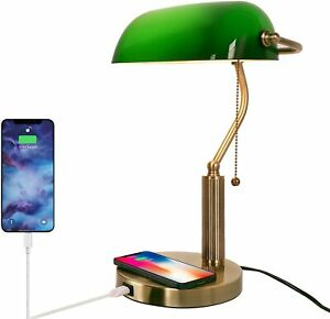 Green Glass Bankers Desk Lamp with Wireless Charger USB Port Pull Chain EU Plug