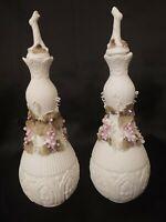2 Vintage Perfume Fragrance Vanity Barber Bottle Jar Porcelain Bisque