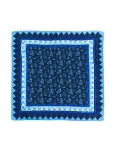 Etro Blue Paisley 100% Silk Pocket Square Milan Italy NWT $125