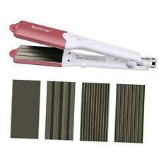 4 in 1 Hair Crimper Hair Waver Hair Straightener Curling Iron with 4 Pink