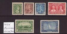 Canada 1935 Jubilee SG335/40 George VI multiple, multi-colour, cents L/ hinged