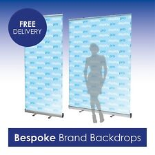 More details for roller banners pop up display stand bespoke printed logo brand backdrop included