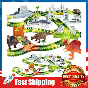258 Pcs Dinosaur Road Race Toys w/ 2 Cool Dinosaur Car Gift for Age 3+ Kids