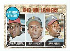 1968 Topps Baseball N.L. RBI Leaders (Hank Aaron; Roberto Clemente) #3 NM- to NM