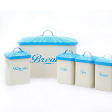 Blue X649 Metal Bread Bin/Box Biscuit Tea Coffee Sugar Tin Storage Canisters Set