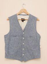 NEW Ralph Lauren RRL DOUBLE RL Cotton Blue Striped Summer Vest XS