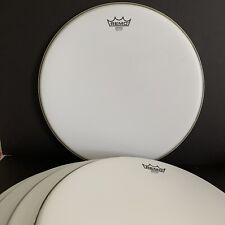 "5 Bulk Remo Drum Head 18"" Emperor White Suede Coated Tom Open Box New"