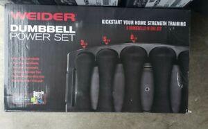 NEW Weider Power Neoprene Dumbbell Set 2LB 5 8 - 32 Pound Workout Weights Black