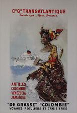 """""""Cie Gle TRANSATLANTIQUE"""" Affiche originale entoilée (Litho BRENET 1950)"""