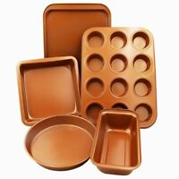 Baking Pans 5 Pcs Copper All in One Bakeware Set with Nonstick Coating Organic