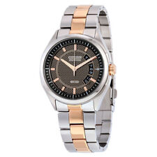 Citizen Eco-Drive Mens AW1146-55H Dress Stainless St. Gold Tone Brown Dial Watch